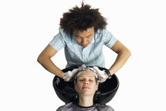 Hairdresser shampooing woman's hair, front view, elevated view, cut out Stock Photos