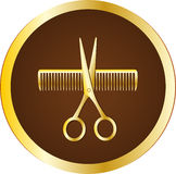 Hairdresser sign with scissors and comb Stock Photography