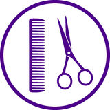 Hairdresser sign with scissors Stock Photography