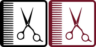 Hairdresser signs. With red and black profeccional scissors and comb vector illustration