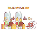 Hairdresser stylist making client girl hairstyle Royalty Free Stock Photo
