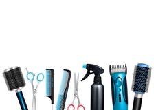Hairdresser Tools Background Stock Photo