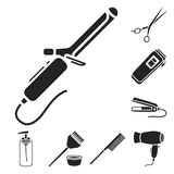 Hairdresser and tools black icons in set collection for design.Profession hairdresser vector symbol stock web. Hairdresser and tools black icons in set Stock Photo
