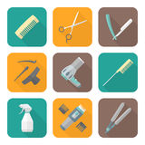Hairdresser tools color flat style icons set. Vector hairdresser barber tools equipment colored flat design icons set long shadows Stock Image