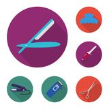 Hairdresser and tools flat icons in set collection for design.Profession hairdresser vector symbol stock web. Hairdresser and tools flat icons in set collection Royalty Free Stock Photo