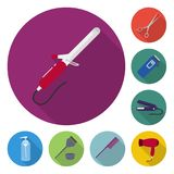 Hairdresser and tools flat icons in set collection for design.Profession hairdresser vector symbol stock web. Hairdresser and tools flat icons in set collection Royalty Free Stock Image
