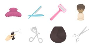 Hairdresser and tools icons in set collection for design.Profession hairdresser vector symbol stock web illustration. Hairdresser and tools icons in set Royalty Free Stock Images