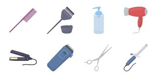 Hairdresser and tools icons in set collection for design.Profession hairdresser vector symbol stock web illustration. Hairdresser and tools icons in set Stock Photos