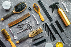 Hairdresser tools pattern gray background top view Stock Photos