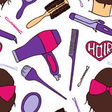 Hairdresser tools. Seamless pattern with beautician supplies - blowdryer, curler, brush, mirror, hairpin. Vector Stock Images