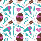 Hairdresser tools. Seamless pattern with beautician supplies - blowdryer, curler, brush, mirror, hairpin. Vector Stock Image