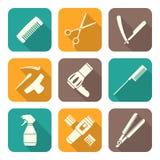 Hairdresser tools white flat style icons set. Vector hairdresser barber tools equipment white color flat design icons set long shadows Royalty Free Stock Image