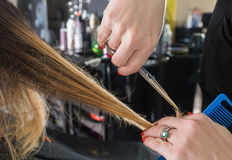 Hairdresser trimming ombre hair with scissors Stock Photography