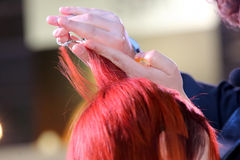 Hairdresser trimming red hair with scissors Royalty Free Stock Photos