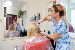 The hairdresser uses a brush to apply the dye to the hair, for d. Yeing Stock Photography