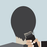 Hairdresser Using Hair Clipper. Stock Photo