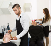Hairdresser wash head Stock Images