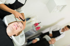 Hairdresser wash head Royalty Free Stock Image