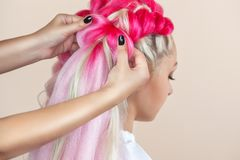 The hairdresser weaves braids with pink kanekalons beautiful blonde. In beauty salon stock images
