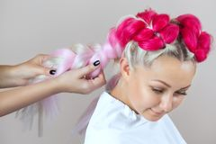 The hairdresser weaves braids with pink kanekalons beautiful blonde. Beauty salon stock photo