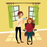Hairdresser woman drying hair for her client with hairbrush and hair dryer in barbershop, professional hair stylist at. Workplace cartoon vector Illustration Stock Photos