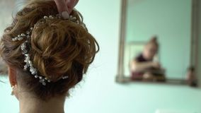 Hairdresser and woman. Hairdresser and young woman model stock video