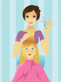Hairdresser at work. Girl is scared of what hairdresser is up to. Vector is also available royalty free illustration