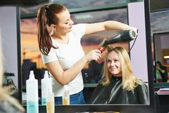 Hairdresser at work. Drying hair Stock Photography