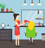Hairdresser at work in the salon royalty free illustration