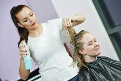 Hairdresser at work. Styling hair Stock Image
