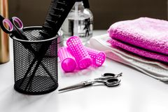 Hairdresser working desk preparation for cutting hair Royalty Free Stock Photo