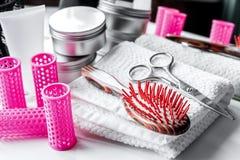 Hairdresser working desk preparation for cutting hair Stock Image