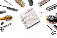 Hairdresser working desk with tools on white background top view. Hairdresser working desk with styling tools on white background top view royalty free stock photos