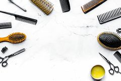Hairdresser working desk with tools on white background top view. Hairdresser working desk with styling tools on white background top view mock up stock photo