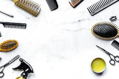 Hairdresser working desk with tools on white background top view. Hairdresser working desk with styling tools on white background top view mock up royalty free stock photo