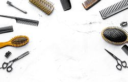 Hairdresser working desk with tools on white background top view. Hairdresser working desk with styling tools on white background top view mock up stock photography