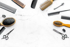 Hairdresser working desk with tools on white background top view mock up. Hairdresser working desk with styling tools on white background top view mock up royalty free stock photo