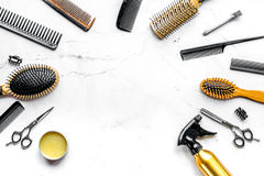 Hairdresser working desk with tools on white background top view mock up. Hairdresser working desk with styling tools on white background top view mock up stock photography