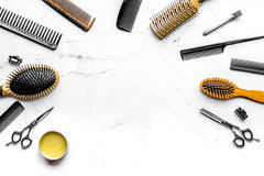 Hairdresser working desk with tools on white background top view mock up. Hairdresser working desk with styling tools on white background top view mock up royalty free stock images