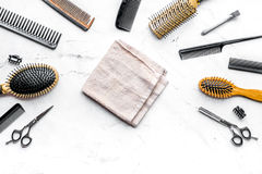 Hairdresser working desk with tools on white background top view. Hairdresser working desk with styling tools on white background top view stock photography