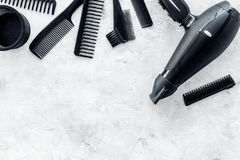 Free Hairdresser Working Desk With Dryer And Tools For Hair Styling On Gray Stone Desk Background Top View Mock Up Royalty Free Stock Photography - 98539247