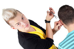 Hairdresser working with scissors Royalty Free Stock Photos