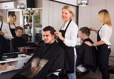 Hairdresser at the workplace Stock Photos