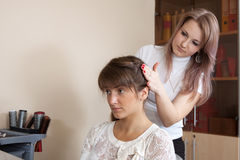Hairdresser works on woman hair Stock Image