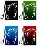 Hairdressers logo set Royalty Free Stock Photo