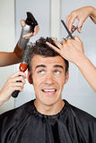 Hairdressers Setting Up Client's Hair Royalty Free Stock Images
