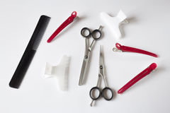 Hairdressers tools scissors comb clips Stock Photo