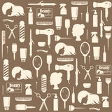 Hairdressers tools seamless pattern royalty free illustration