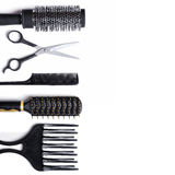 Hairdressing εξαρτήματα καθορισμένα απομονωμένα Στοκ Εικόνες