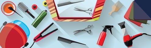 Hairdressing επίπεδη απεικόνιση σαλονιών Στοκ εικόνες με δικαίωμα ελεύθερης χρήσης